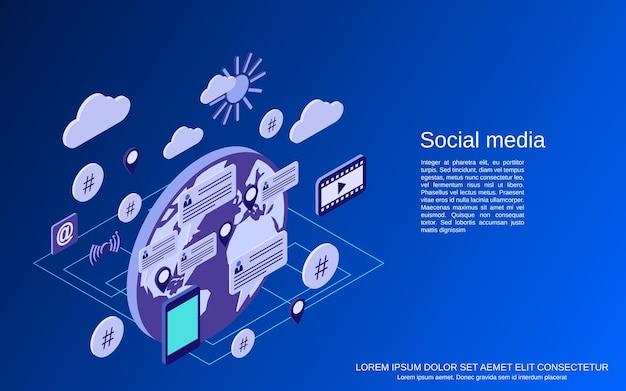 Social media flat isometric vector concept illustration