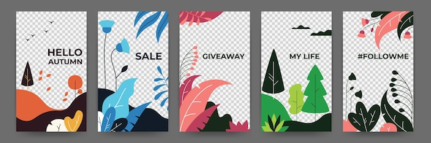 Social media flat plant posters. abstract vibrant autumn stories floral frames template. vector illustration magical landscape summer and spring posters for invitation on transparent background