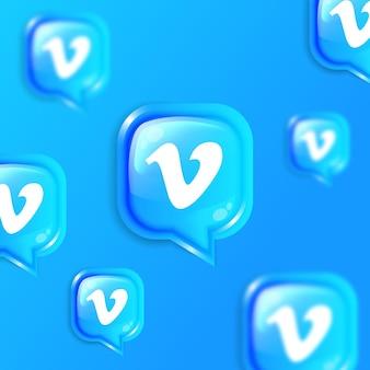 Social media floating vimeo icons background banner