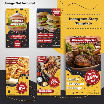 Social media food instagram stories story template menu vintage retro style