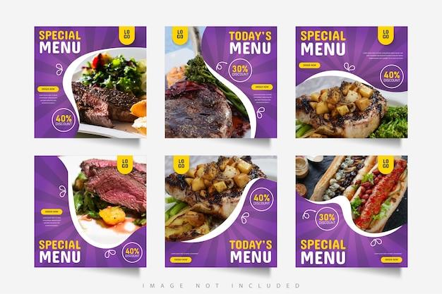 Social media food menu banner post template
