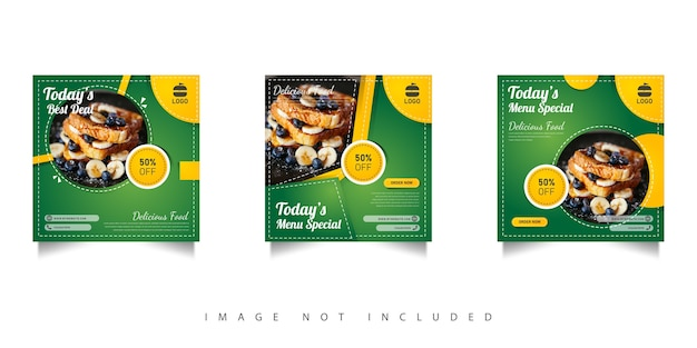 Social media food sale template with green gradations