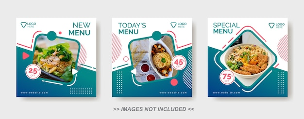 Social media food template, restaurant social media post template