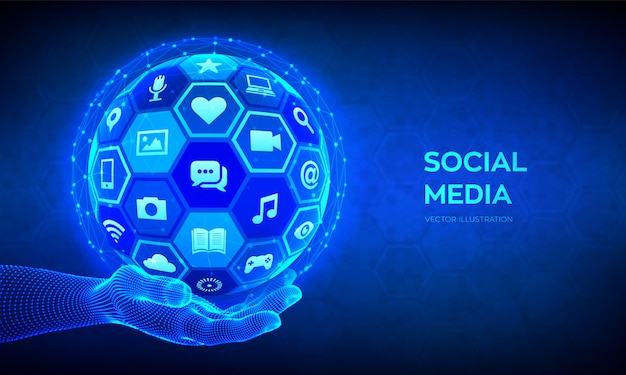 Social media global connection concept. social networking and blogging. abstract 3d sphere with icons in wireframe hand.