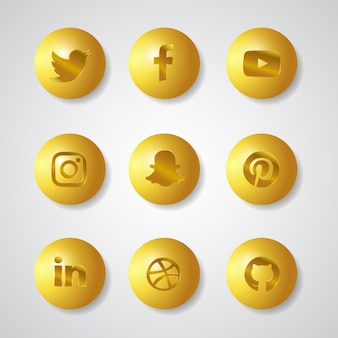 Social media gold gardient 3d icons set