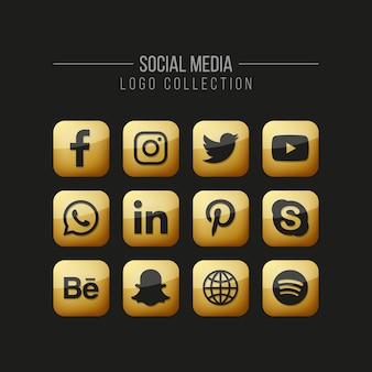 Social media golden icons set on black