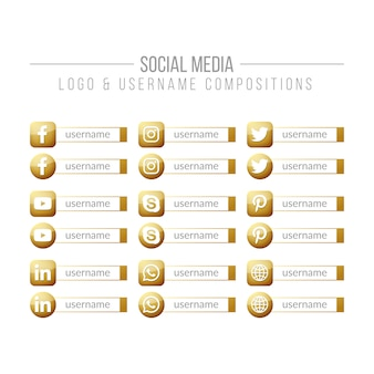 Social media golden logo and username compositions