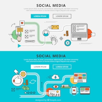 Social media graphic banners Free Vector