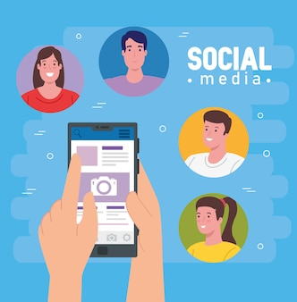 Social media, group people communicating by smartphone illustration design