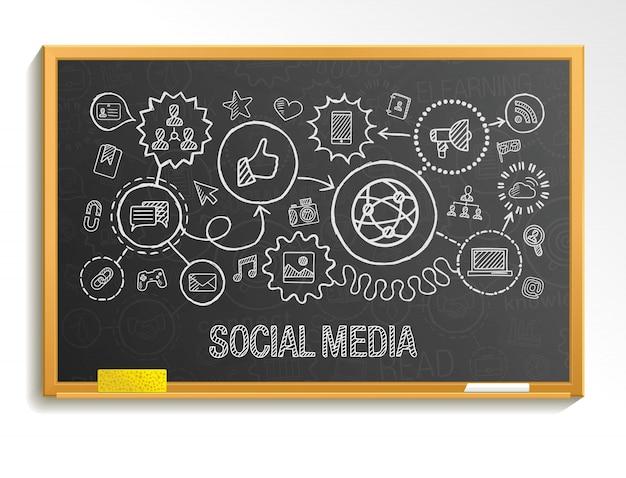 소셜 미디어 손 그리기 통합 아이콘을 교육청에 설정합니다. 인포 그래픽 일러스트 스케치. 연결된 낙서 그림, 인터넷, 디지털, 마케팅, 미디어, 네트워크, 글로벌 대화 형 개념