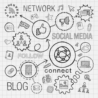 ソーシャルメディアの手は、統合されたアイコンセットを描画します。インフォグラフィックイラストをスケッチします。ラインは、紙に落書きハッチピクトグラムを接続しました。マーケティング、ネットワーク、共有、テクノロジー、コミュニティ、プロファイルの概念