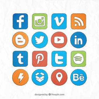 Социальные медиа рисованной цветные логотипы коллекция