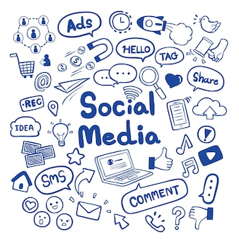 Social media hand drawn doodles background vector