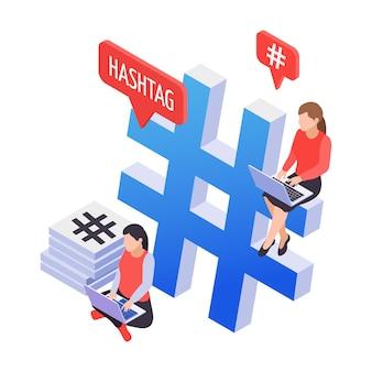 Изометрическая иконка хэштега в социальных сетях с двумя персонажами и ноутбуками