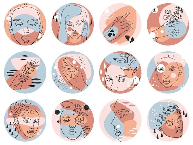 ソーシャルメディアのハイライトカバー。女性の顔、手と花、丸い形のベクトルセットを持つ美容ブロガーのための抽象的な自由奔放に生きる物語のアイコン。葉と髪型の女性の頭を持つ植物