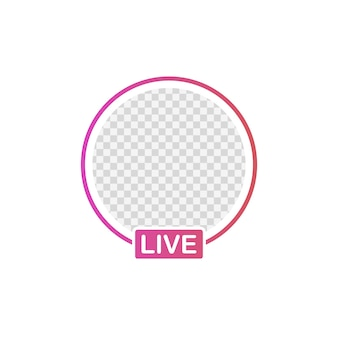 Social media icon avatar frame. live stories user video streaming.