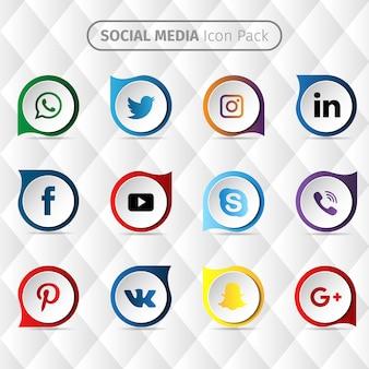 ソーシャルメディアのアイコンのデザイン