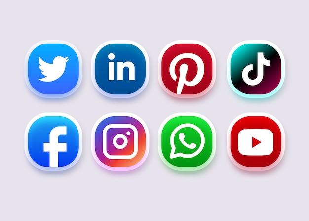 ソーシャルメディアのアイコンまたはロゴコレクション
