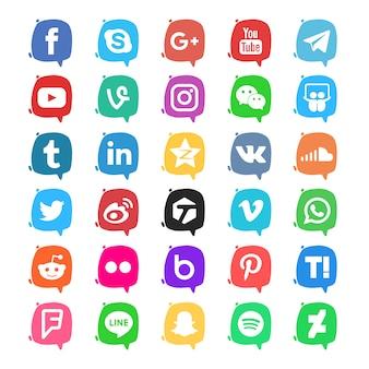 Пакет значков в социальных сетях