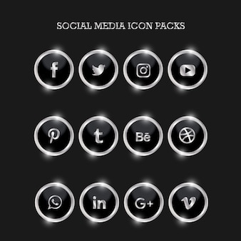 Social media icon packs circle silver