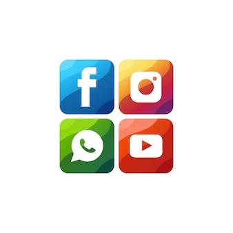 ソーシャルメディアのアイコンプレミアムロゴベクトル Premiumベクター