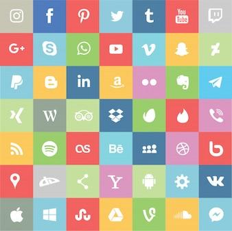 Social media icon set in color squares