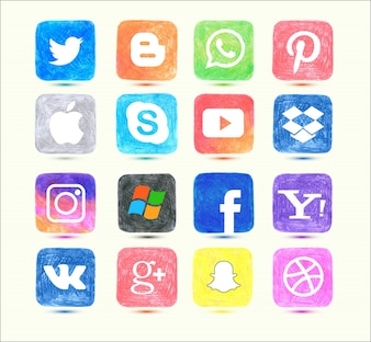 Social media icon set in hand drawn style