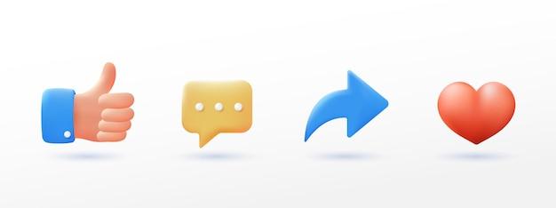 Значок социальных сетей устанавливает большие пальцы руки, комментирует, делится и любит стиль 3d