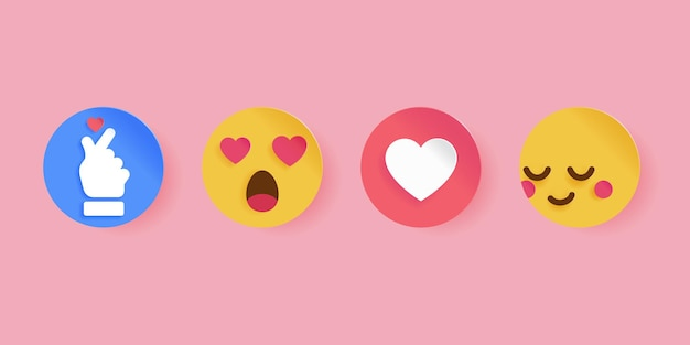 Social media icon for valentine's day. papercut style. emoticons