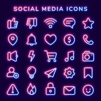 Вектор значок социальных сетей установлен в неоново-розовом с небольшим свечением