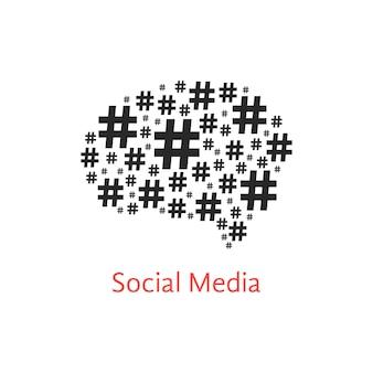 해시 태그에서 두뇌와 소셜 미디어 아이콘입니다. 숫자 기호, 네트워크, 판매 및 마이크로 블로거의 개념. 흰색 배경에 고립. 평면 스타일 유행 현대 로고 디자인 벡터 일러스트 레이 션