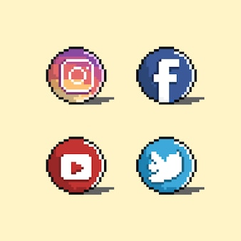 픽셀 아트 스타일의 소셜 미디어 아이콘
