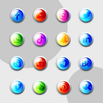 Social media icons 3d collection pack
