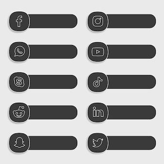 ソーシャルメディアのアイコンとラベルのコレクションパック