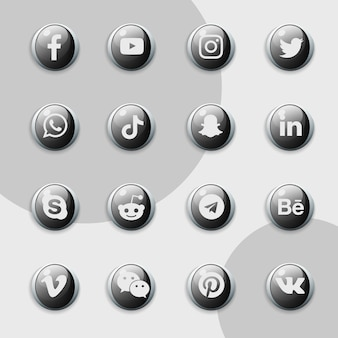 Social media icons black collection pack