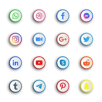 Social media icons buttons with round circle or network platforms ellipse buttons