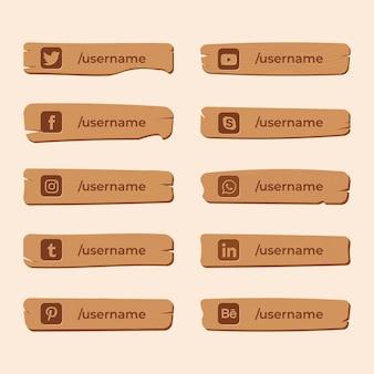 木の板のデザインに刻まれたソーシャルメディアのアイコン Premiumベクター