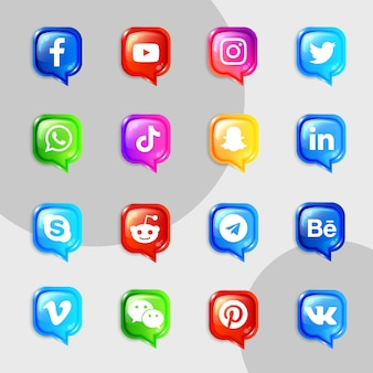 Social media icons collection kit