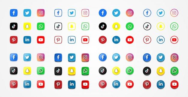 Коллекция икон социальных медиа. простые логотипы и 3d-эффект
