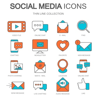 Social media icons for websites and mobile applications