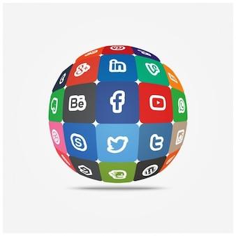 Social media icons in globe Free Vector