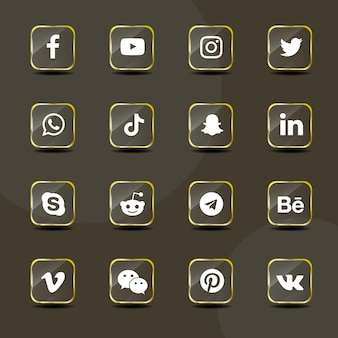 Social media icons golden glass collection pack