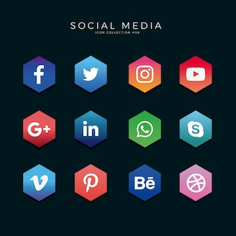 Social Media Icons Hexagon
