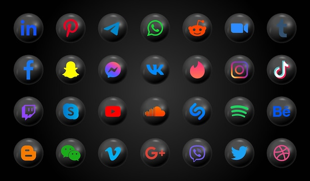 Иконки социальных сетей в современных черных кнопках и круглых логотипах