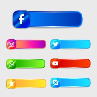 Social media icons labels collection pack