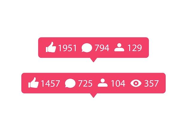 Иконки социальных сетей. значок лайка и комментария. шаблон уведомления о речи пузырь для использования на веб-сайте и в интерфейсе.