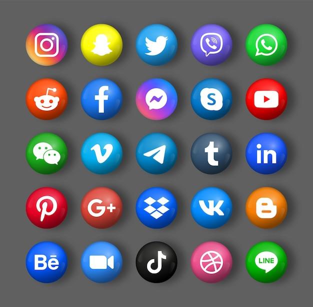 Логотипы значков социальных сетей в 3d круглом круге или современных кнопках