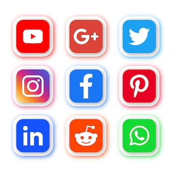 Social media icons logos in round rectangle modern buttons