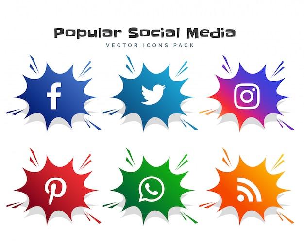 ソーシャルメディアアイコンのロゴタイプを漫画バブルスタイルで