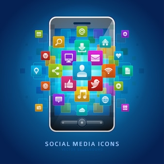 Social media icons and mobile smartphone